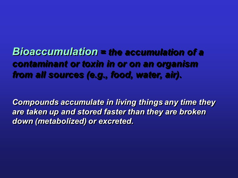 Bioaccumulation = the accumulation of a contaminant or toxin in or on an organism from all sources (e.g., food, water, air). Compounds accumulate in living things any time they are taken up and stored faster than they are broken down (metabolized) or excreted.