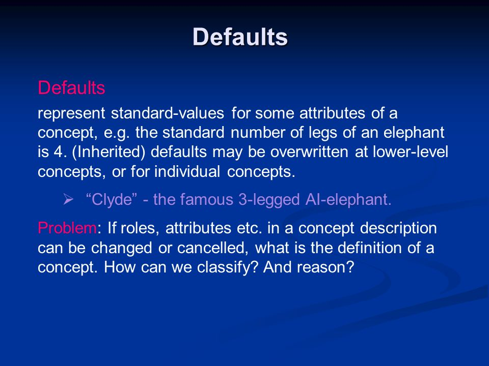 Defaults Defaults.