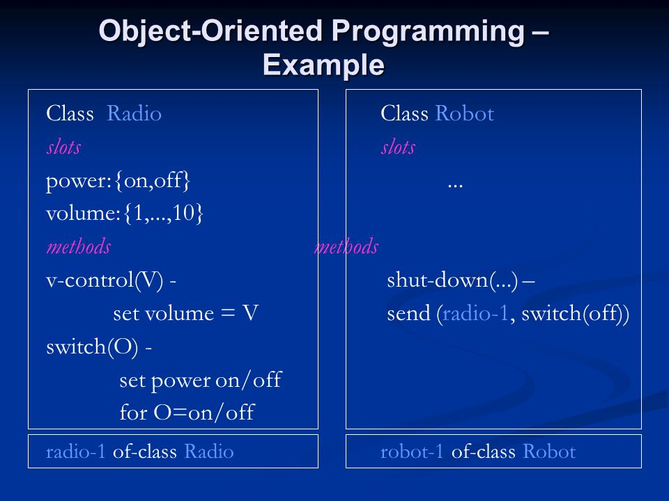 Object-Oriented Programming – Example