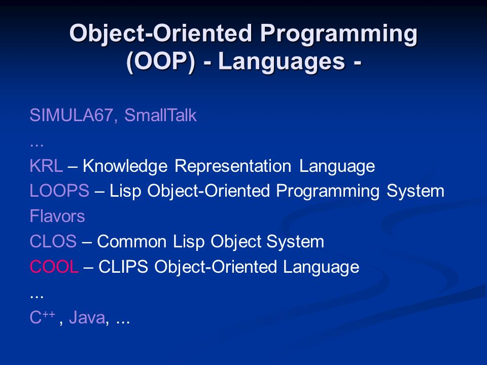 Object-Oriented Programming (OOP) - Languages -