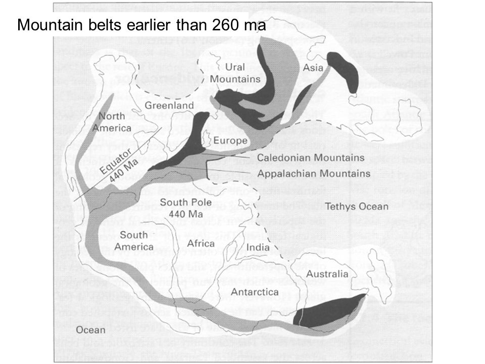 Mountain belts earlier than 260 ma
