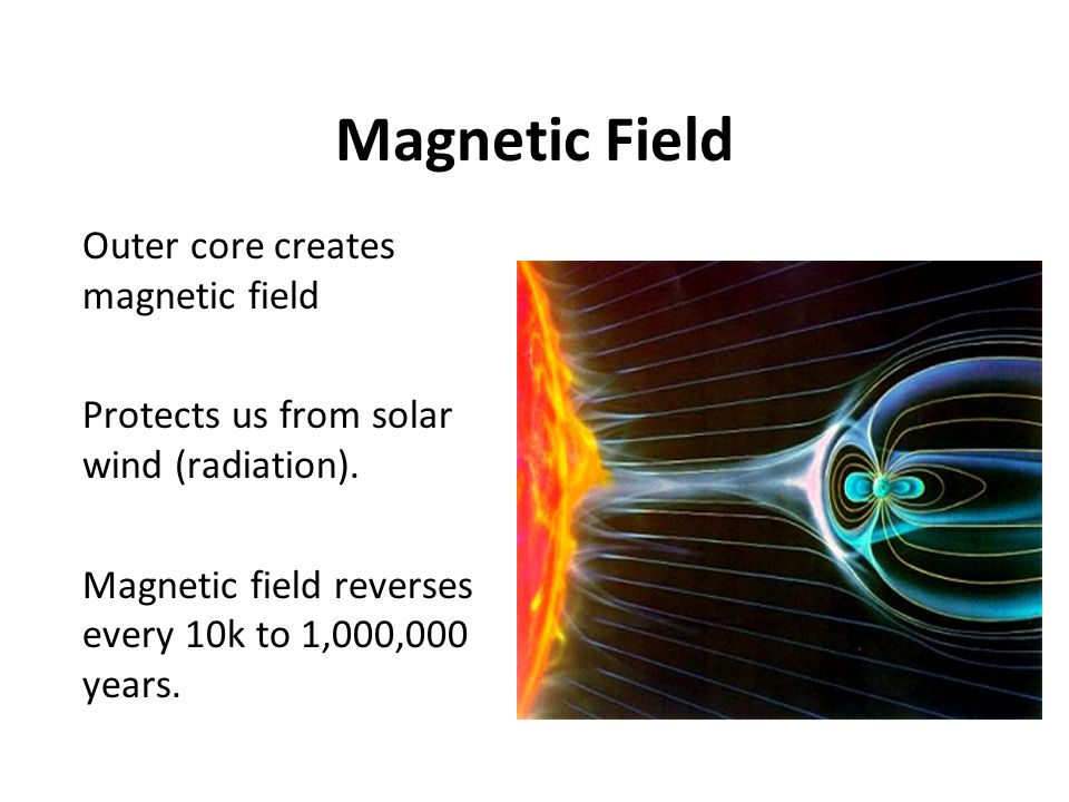 Magnetic Field Outer core creates magnetic field