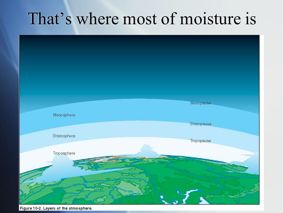 That's where most of moisture is