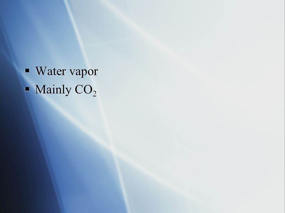 Water vapor Mainly CO2
