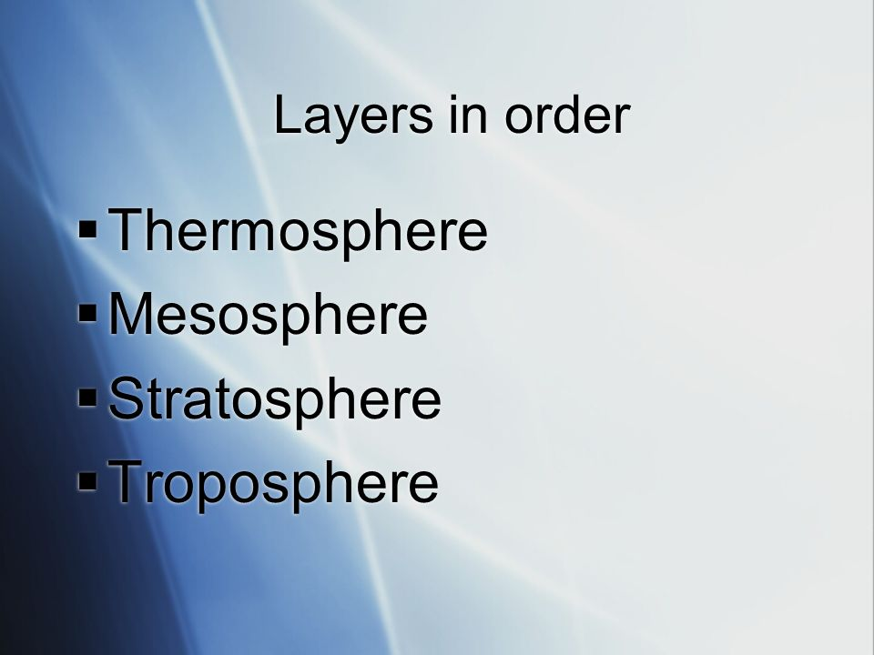 Layers in order Thermosphere Mesosphere Stratosphere Troposphere
