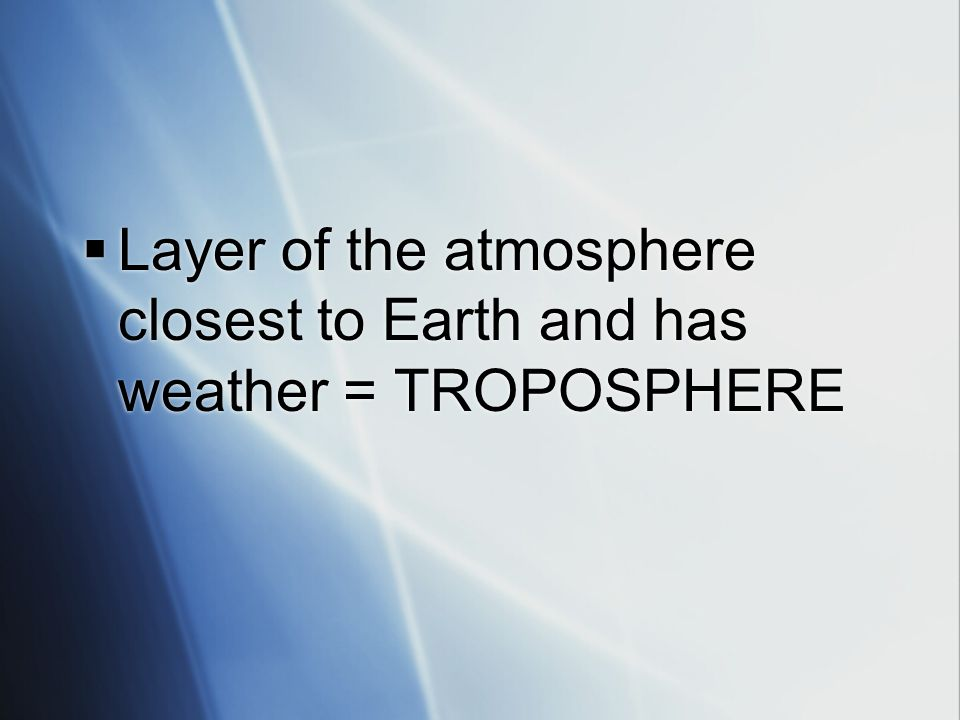 Layer of the atmosphere closest to Earth and has weather = TROPOSPHERE