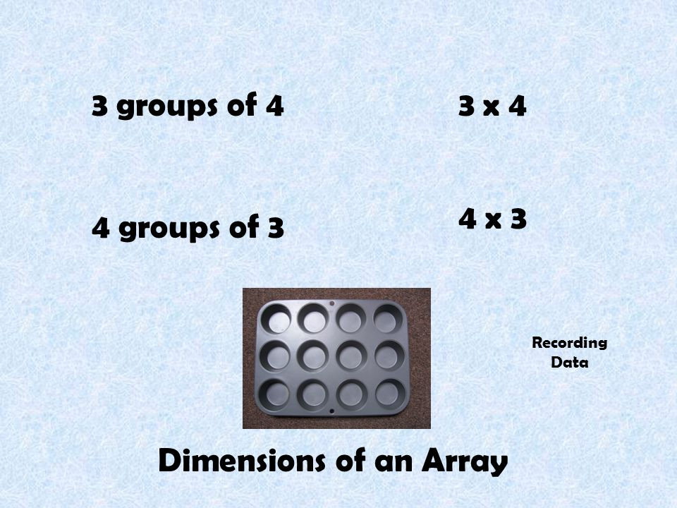 3 groups of 4 4 groups of 3 3 x 4 4 x 3 Dimensions of an Array