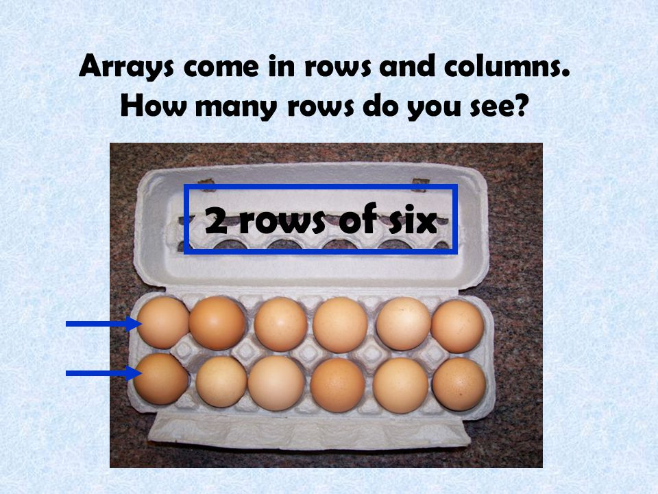 Arrays come in rows and columns. How many rows do you see
