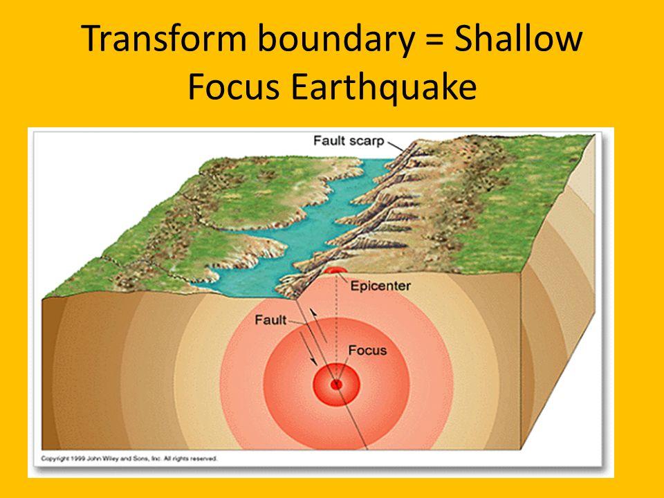 Transform boundary = Shallow Focus Earthquake