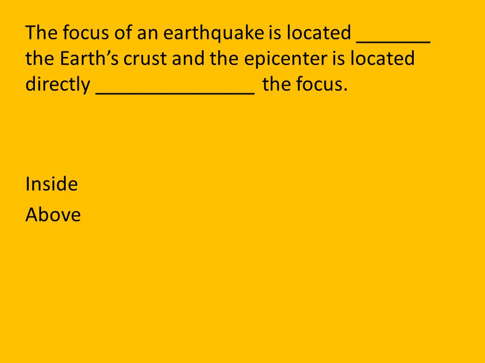 The focus of an earthquake is located _______ the Earth's crust and the epicenter is located directly _______________ the focus.