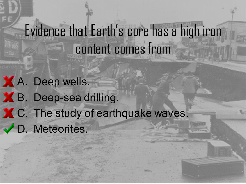 Evidence that Earth's core has a high iron content comes from
