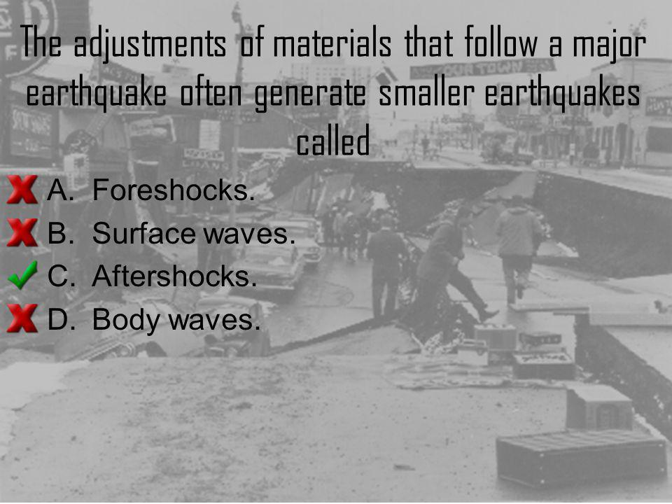The adjustments of materials that follow a major earthquake often generate smaller earthquakes called