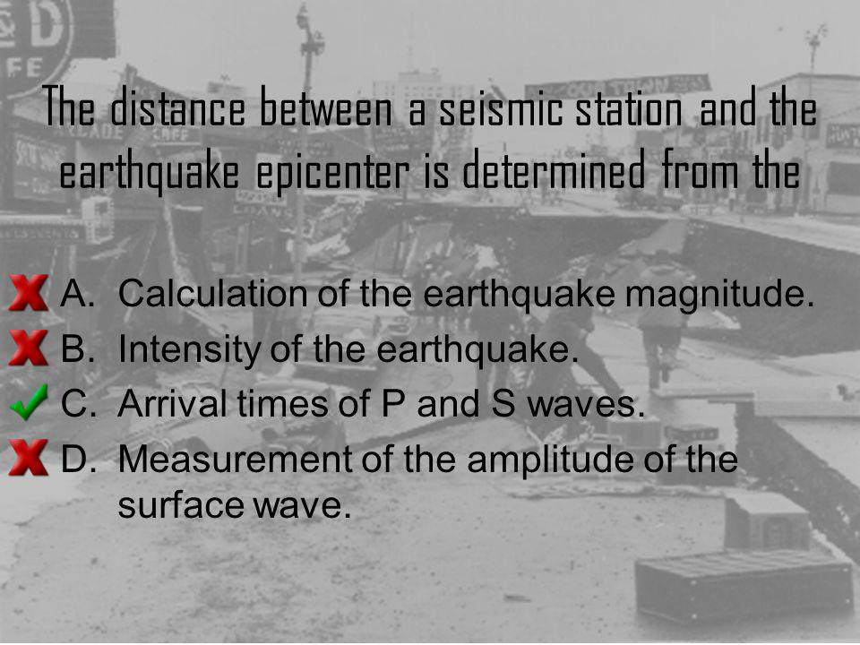 The distance between a seismic station and the earthquake epicenter is determined from the