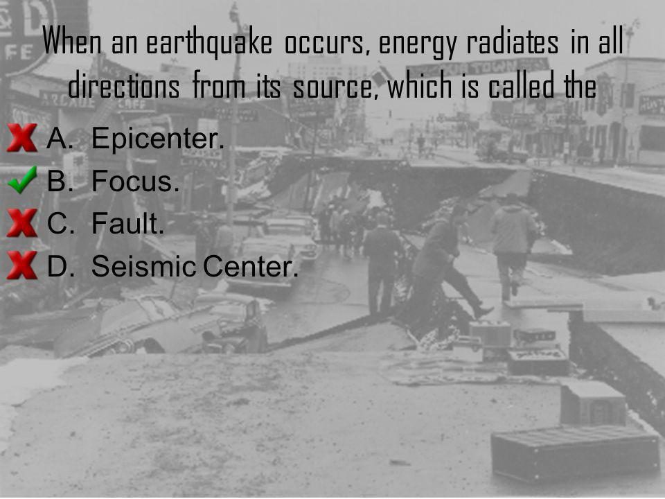 When an earthquake occurs, energy radiates in all directions from its source, which is called the