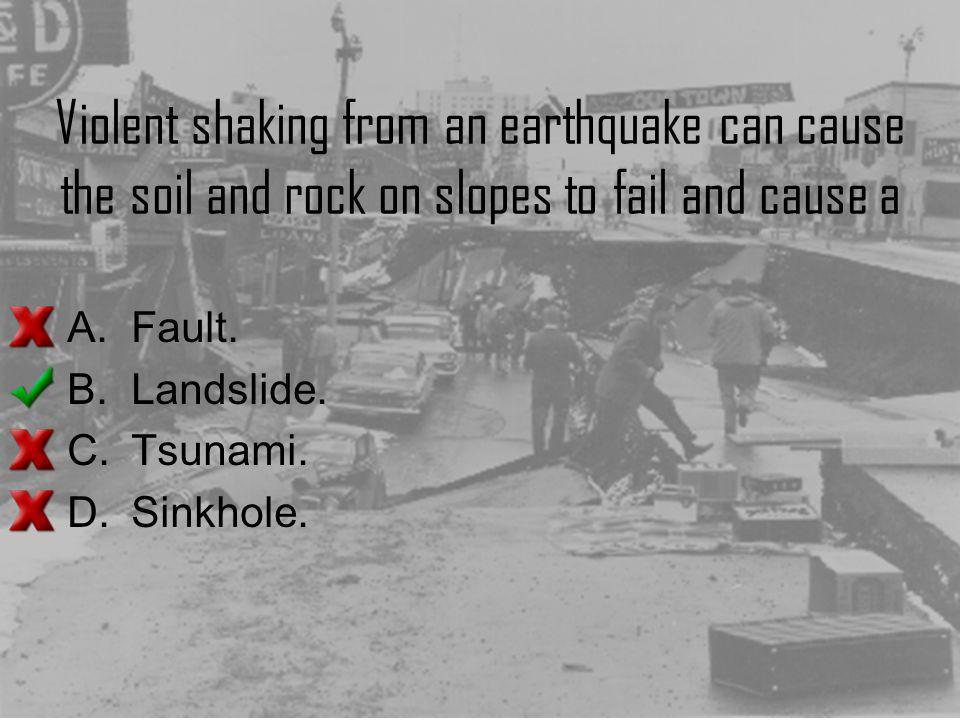 Violent shaking from an earthquake can cause the soil and rock on slopes to fail and cause a