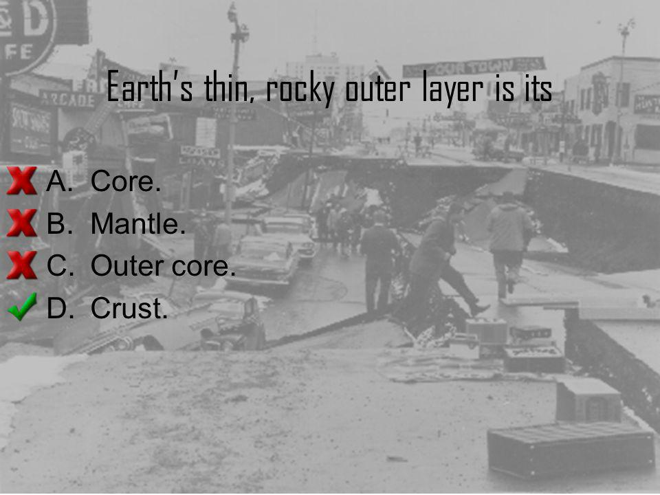 Earth's thin, rocky outer layer is its