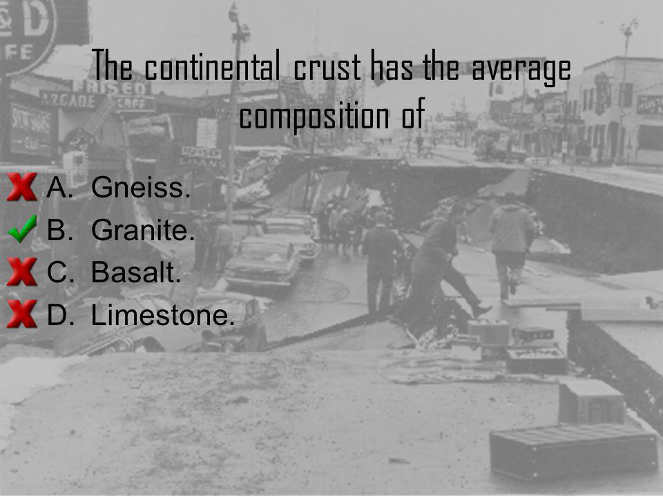 The continental crust has the average composition of
