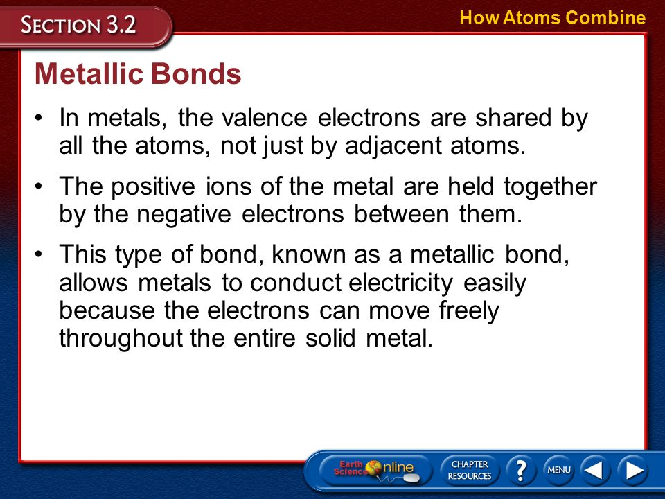 How Atoms Combine Metallic Bonds. In metals, the valence electrons are shared by all the atoms, not just by adjacent atoms.