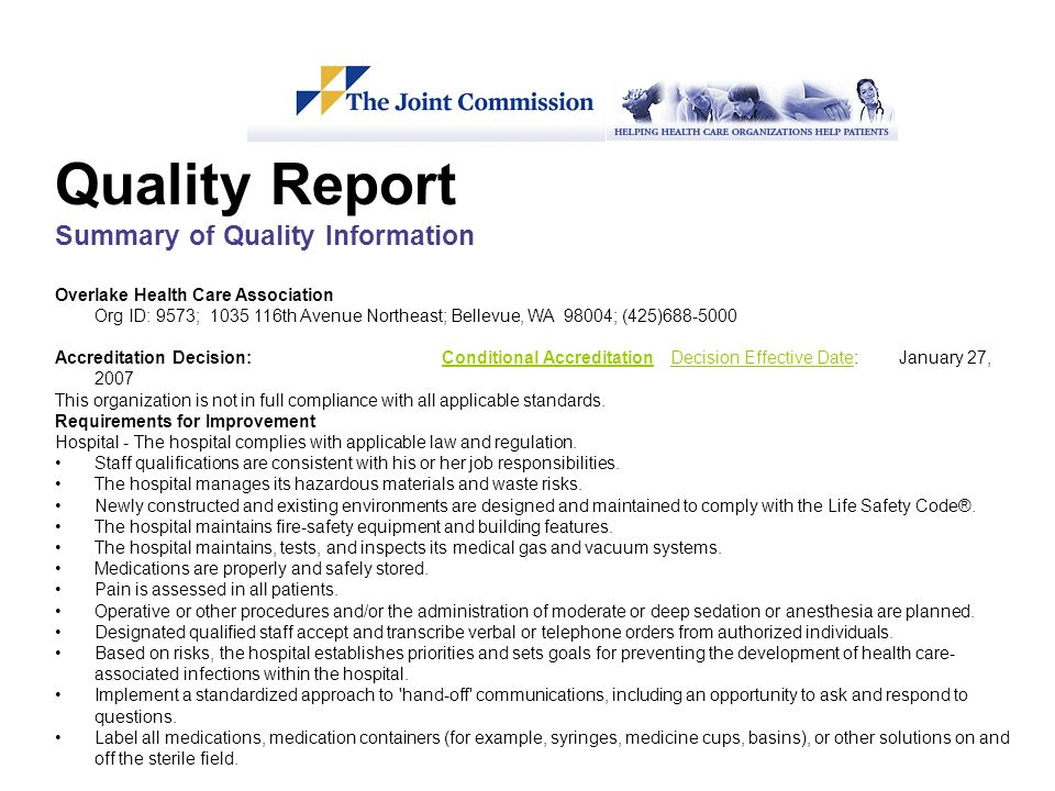 Quality Report Summary of Quality Information
