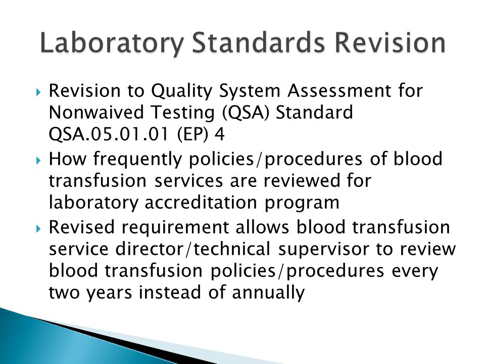 Laboratory Standards Revision