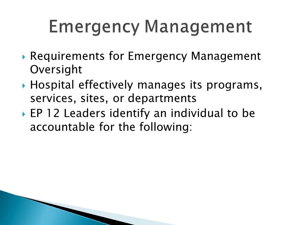 Emergency Management Requirements for Emergency Management Oversight