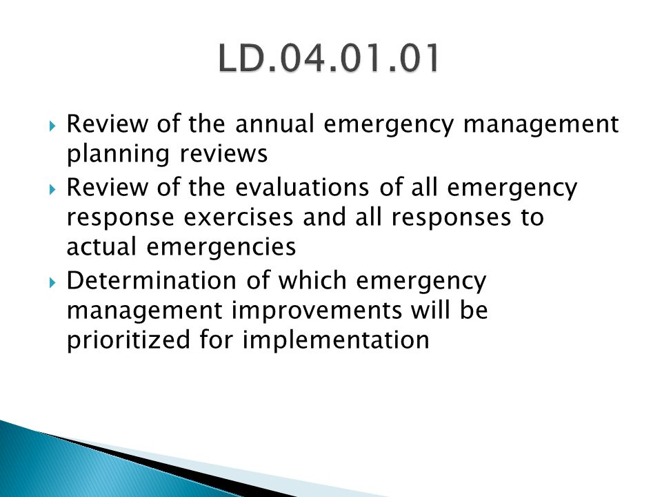 LD.04.01.01 Review of the annual emergency management planning reviews
