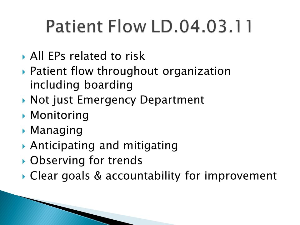 Patient Flow LD.04.03.11 All EPs related to risk
