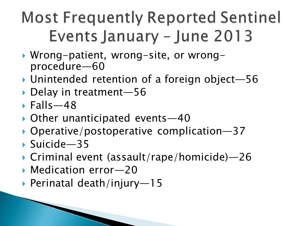 Most Frequently Reported Sentinel Events January – June 2013