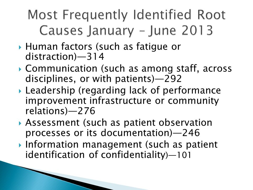 Most Frequently Identified Root Causes January – June 2013
