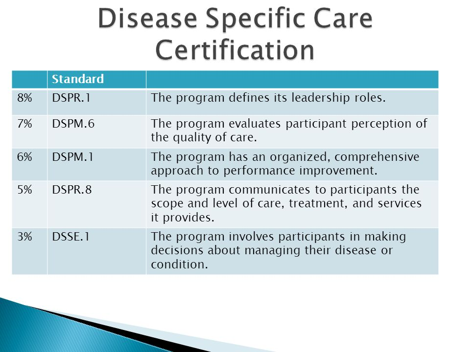 Disease Specific Care Certification