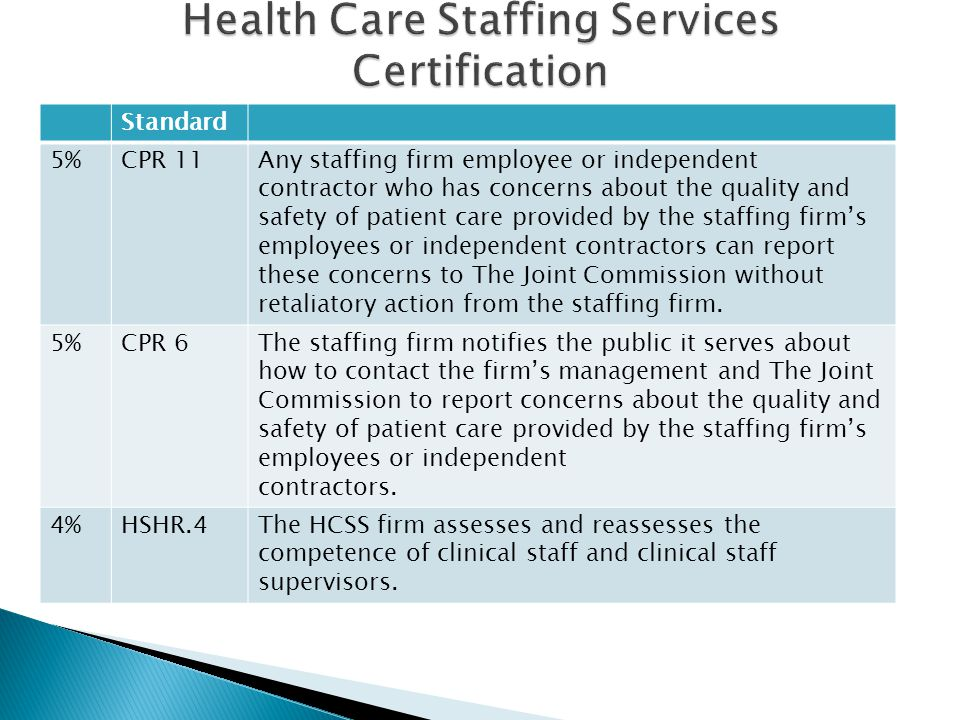 Health Care Staffing Services Certification