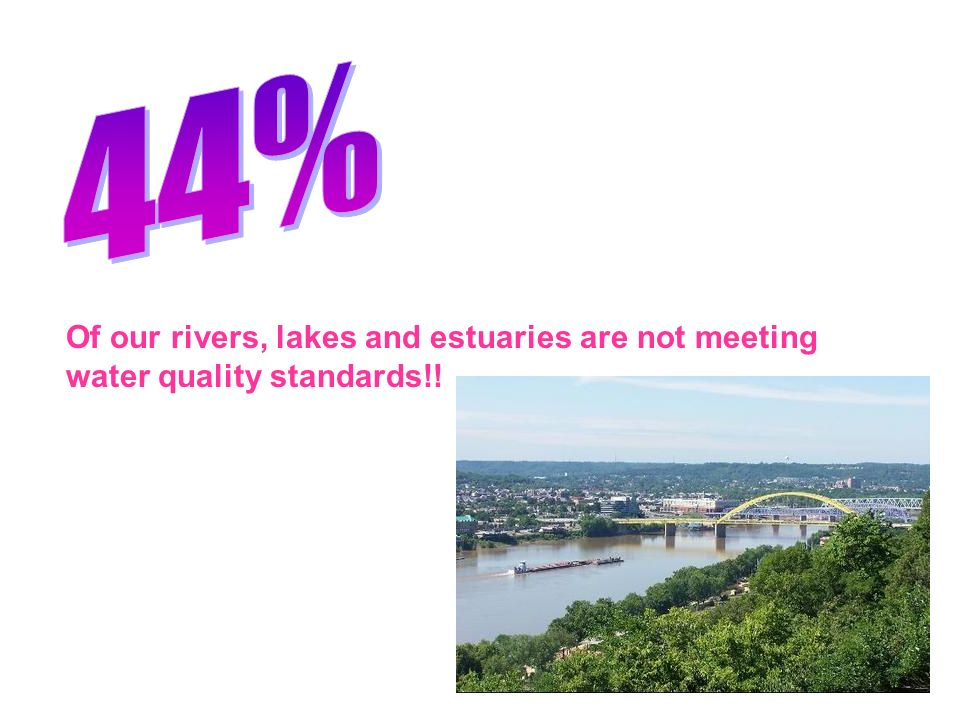 44% Of our rivers, lakes and estuaries are not meeting water quality standards!!