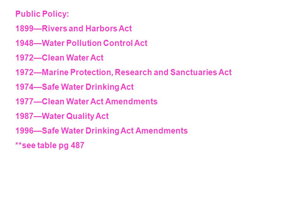 Public Policy:1899—Rivers and Harbors Act. 1948—Water Pollution Control Act. 1972—Clean Water Act.