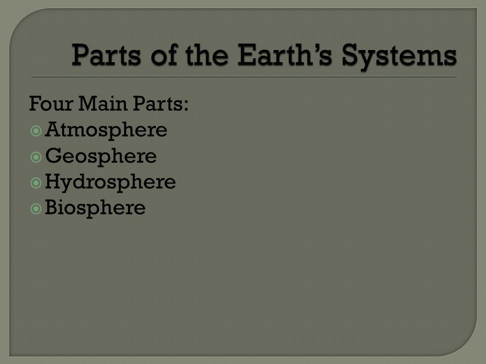 Parts of the Earth's Systems