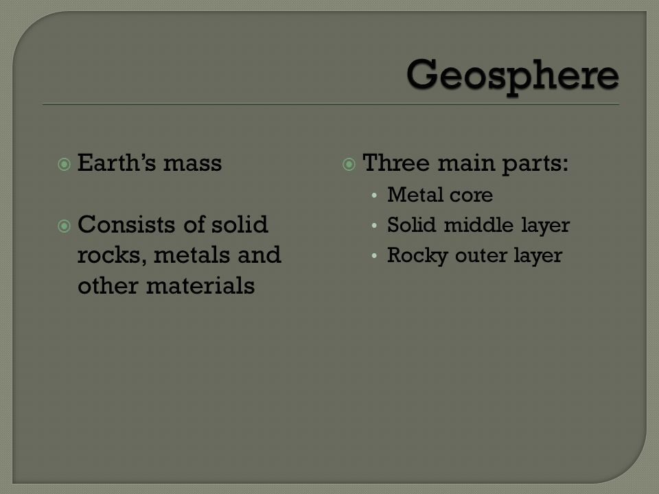 Geosphere Earth's mass