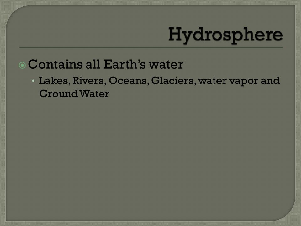 Hydrosphere Contains all Earth's water
