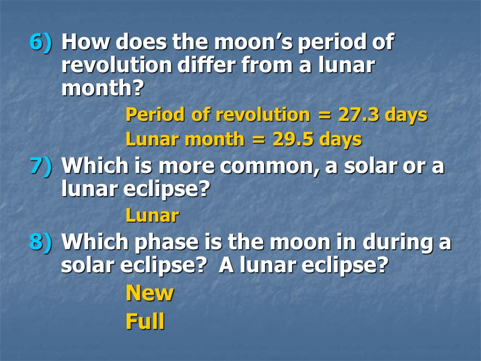 How does the moon's period of revolution differ from a lunar month