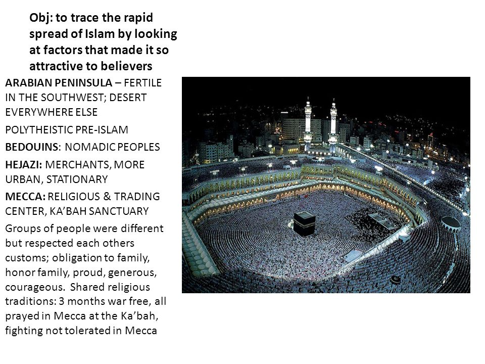 Obj: to trace the rapid spread of Islam by looking at factors that made it so attractive to believers