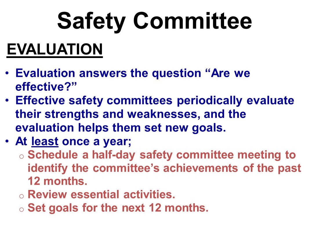 Safety Committee EVALUATION