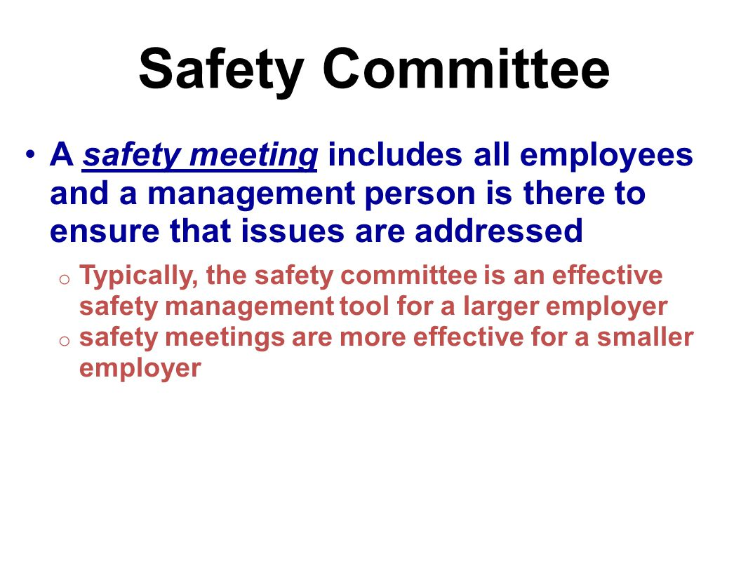 Safety Committee A safety meeting includes all employees and a management person is there to ensure that issues are addressed.