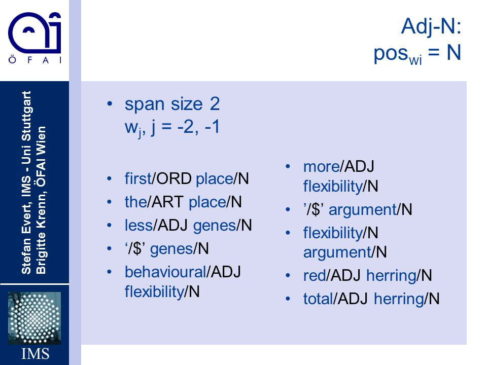 Adj-N: poswi = N span size 2 wj, j = -2, -1 more/ADJ flexibility/N
