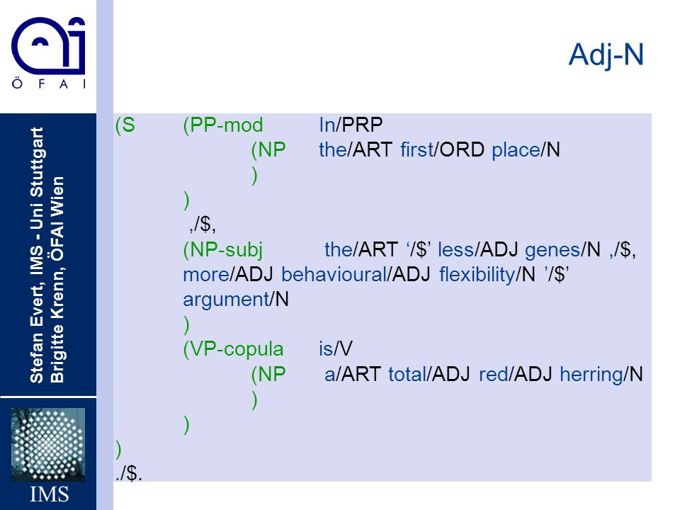 Adj-N (S (PP-mod In/PRP (NP the/ART first/ORD place/N ) ,/$,
