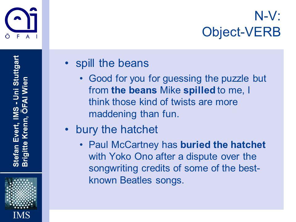 N-V: Object-VERB spill the beans bury the hatchet