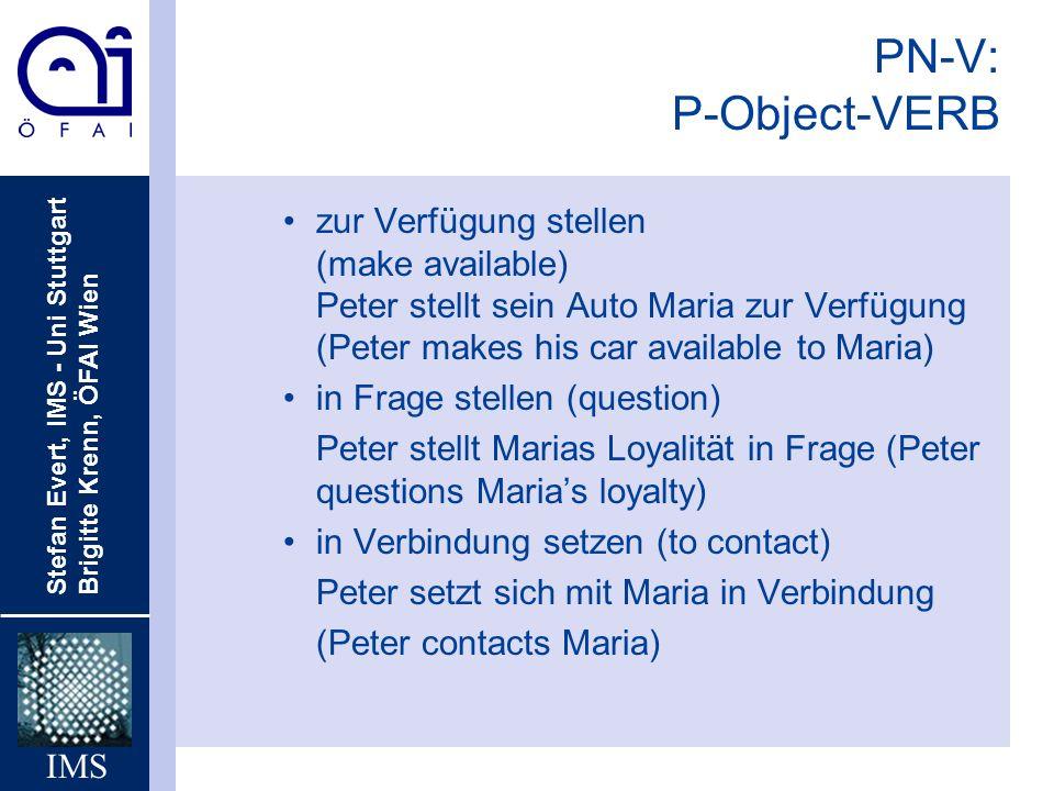 PN-V: P-Object-VERB zur Verfügung stellen (make available) Peter stellt sein Auto Maria zur Verfügung (Peter makes his car available to Maria)
