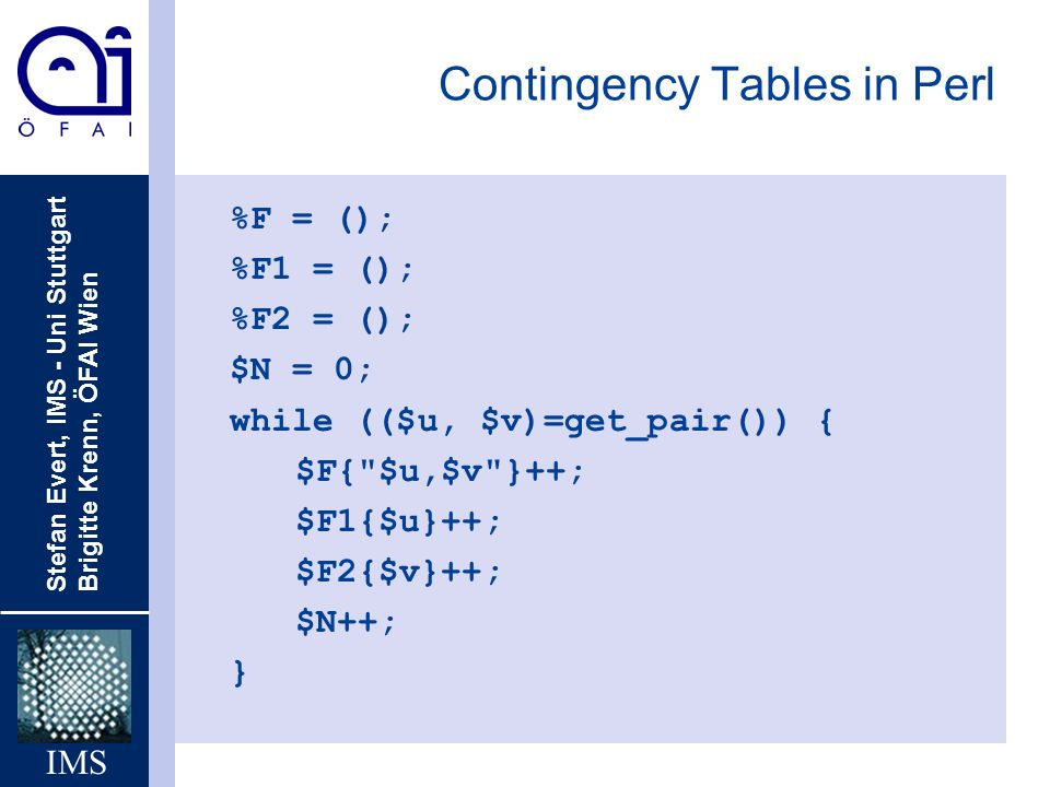 Contingency Tables in Perl