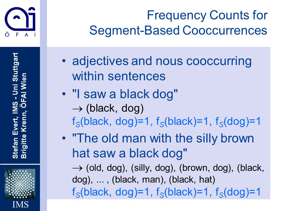 Frequency Counts for Segment-Based Cooccurrences