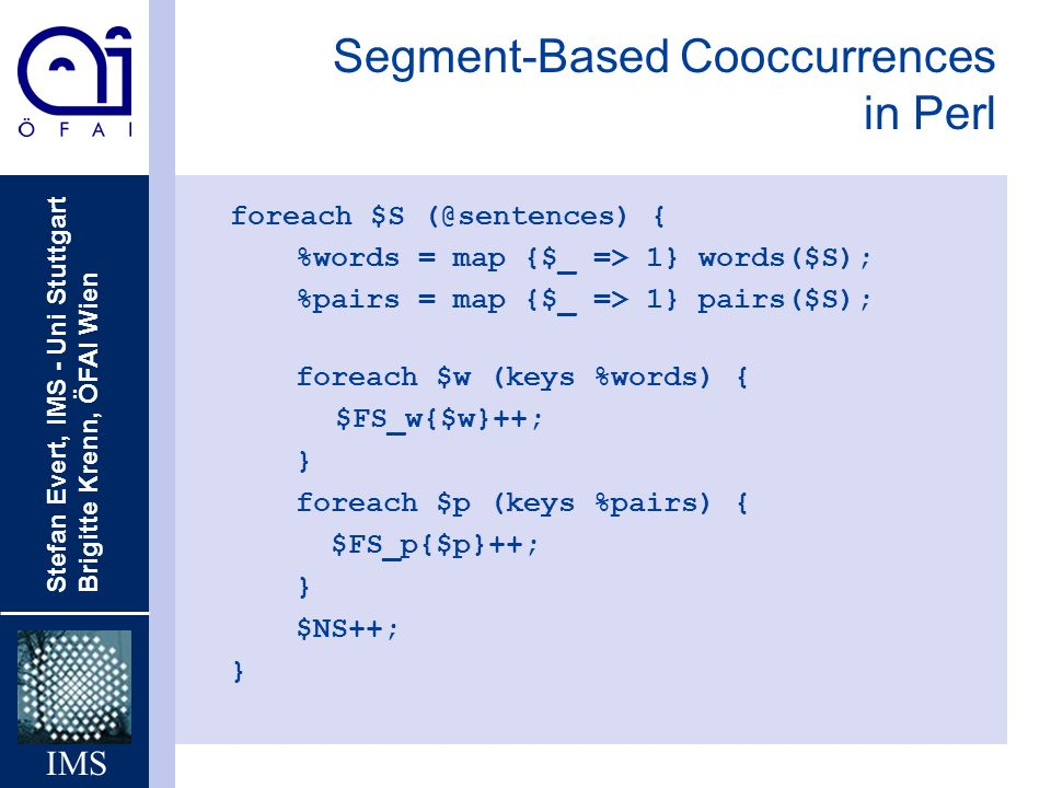 Segment-Based Cooccurrences in Perl