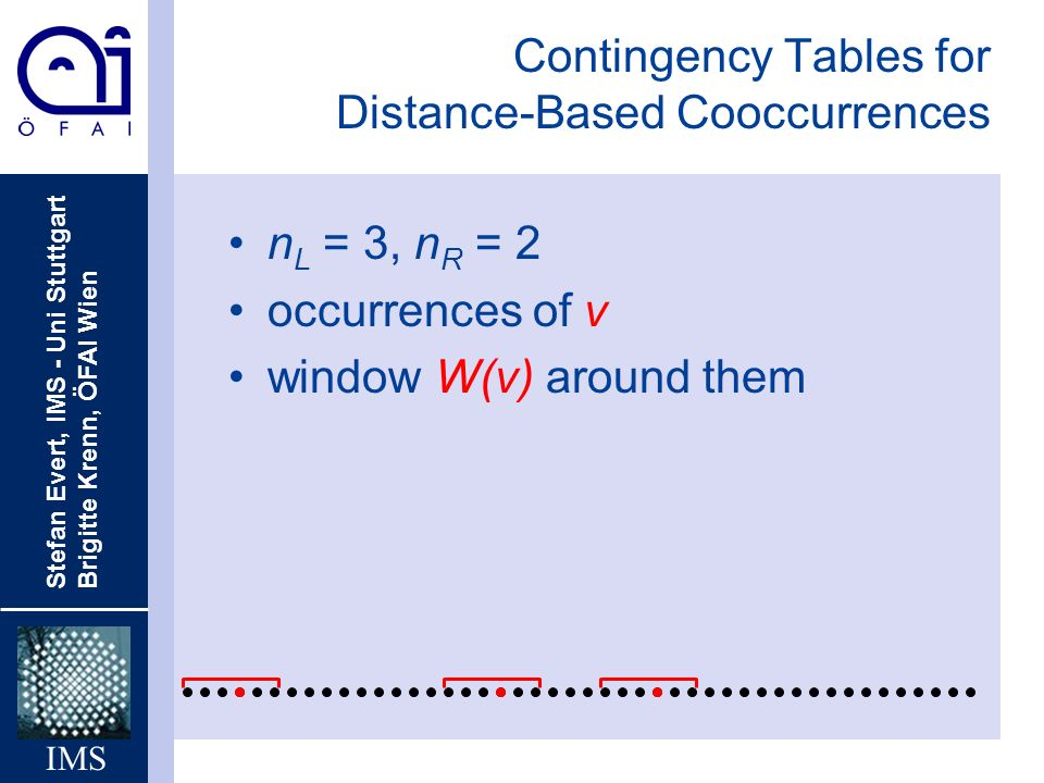 Contingency Tables for Distance-Based Cooccurrences