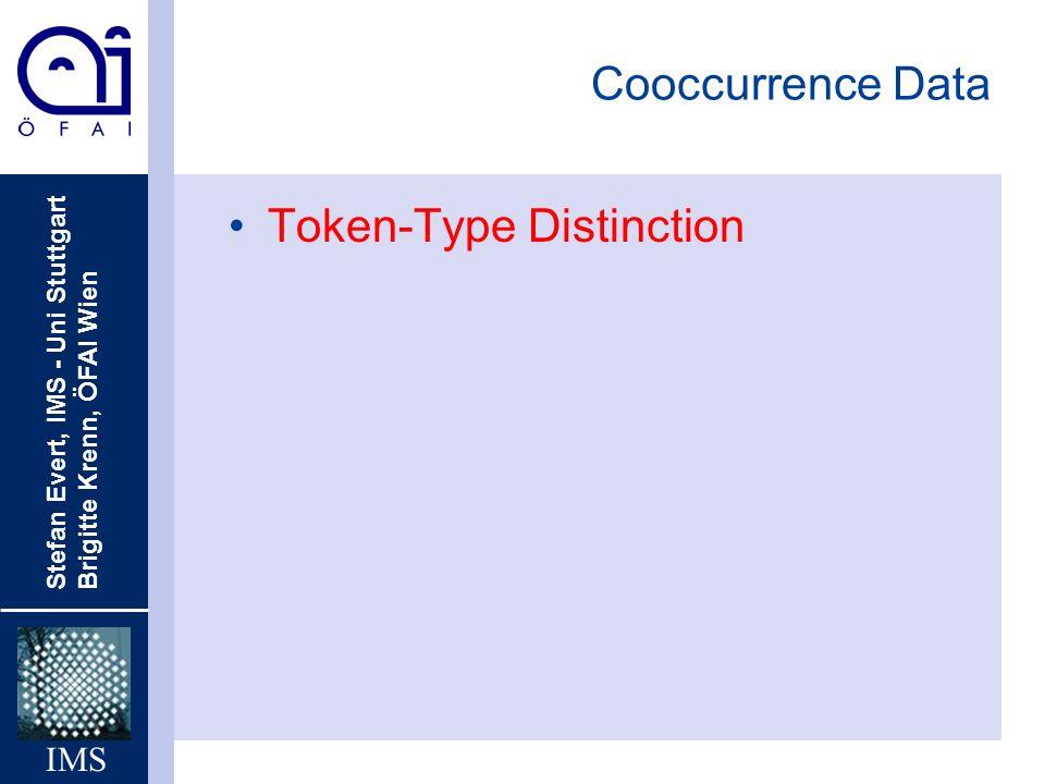 Cooccurrence Data Token-Type Distinction