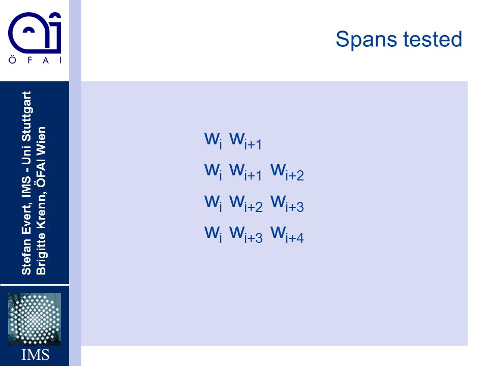 Spans tested wi wi+1 wi wi+1 wi+2 wi wi+2 wi+3 wi wi+3 wi+4